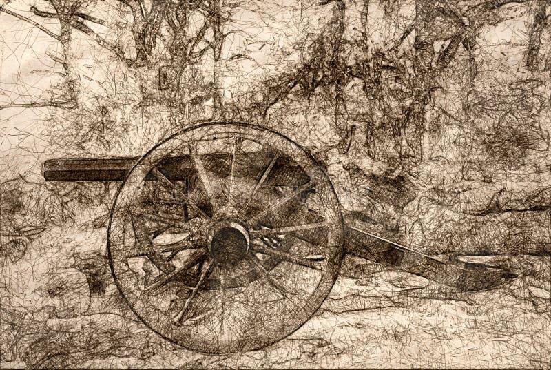 Esboço de um canhão americano da guerra civil ilustração do vetor