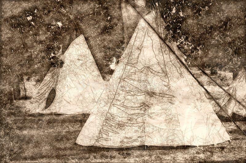 Esboço de um grupo de tendas que estão entre as árvores ilustração stock