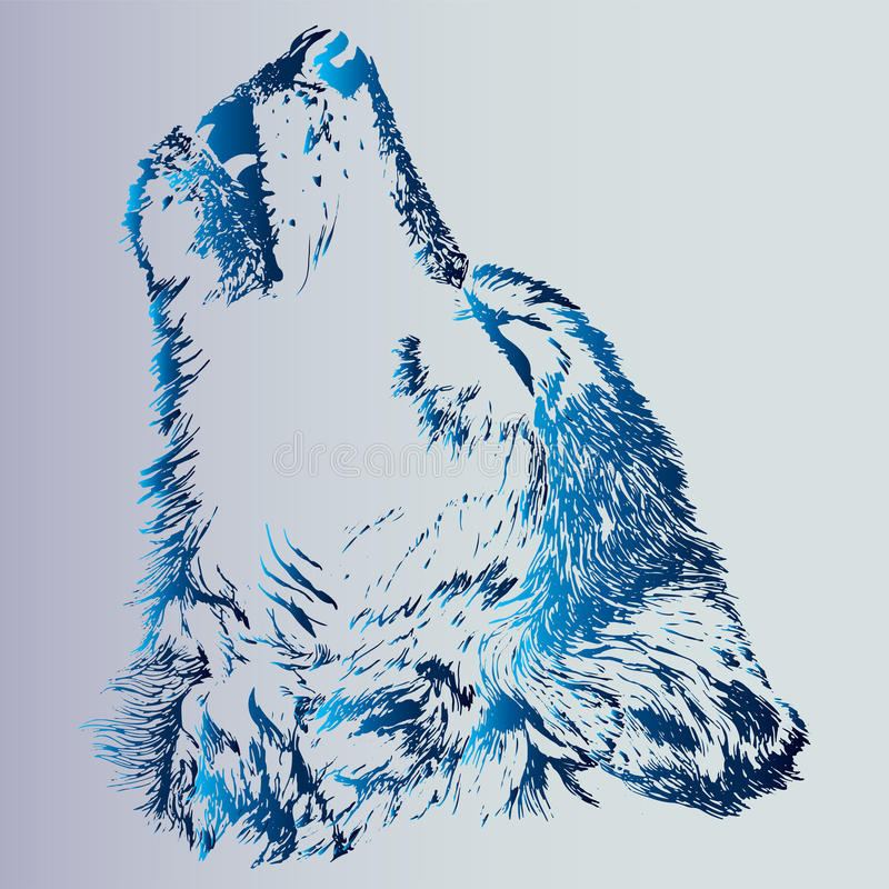 Esboço de um lobo do urro da tatuagem Um animal é um predador O inclinação azul é uma ideia para uma tatuagem ilustração do vetor