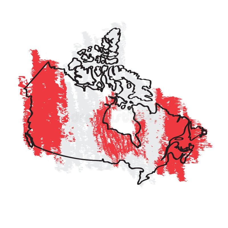 Esboço de um mapa de Canadá ilustração stock