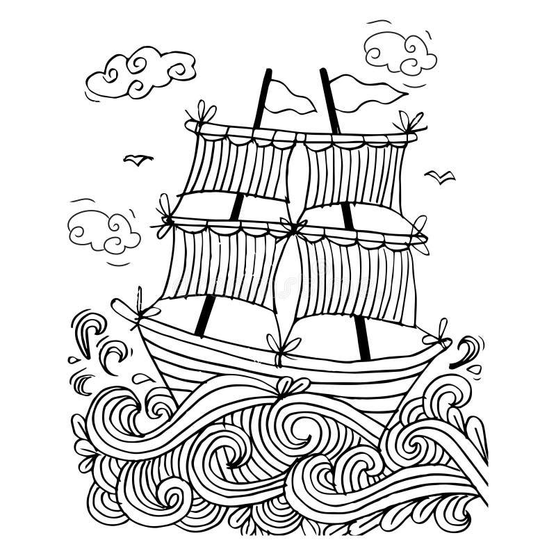 Esboço de um veleiro ilustração royalty free