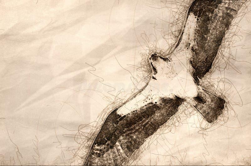 Esboço de uma águia pescadora que caça na asa em um céu azul ilustração royalty free