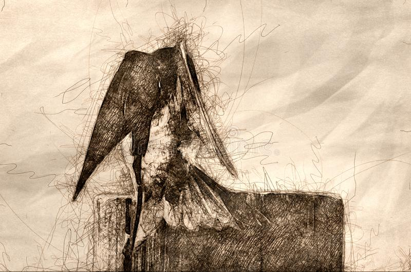 Esboço de uma andorinha de árvore que estica suas asas quando empoleirado sobre um cargo de madeira resistido ilustração stock