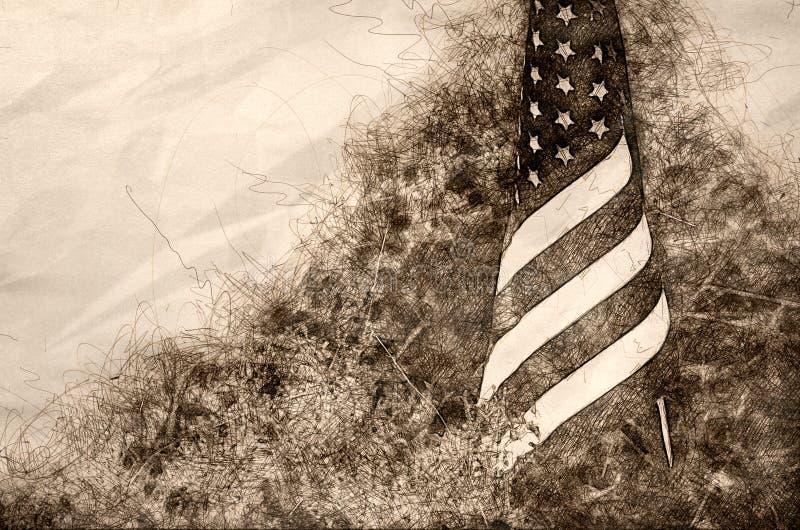Esboço de uma bandeira americana que está na grama ilustração do vetor