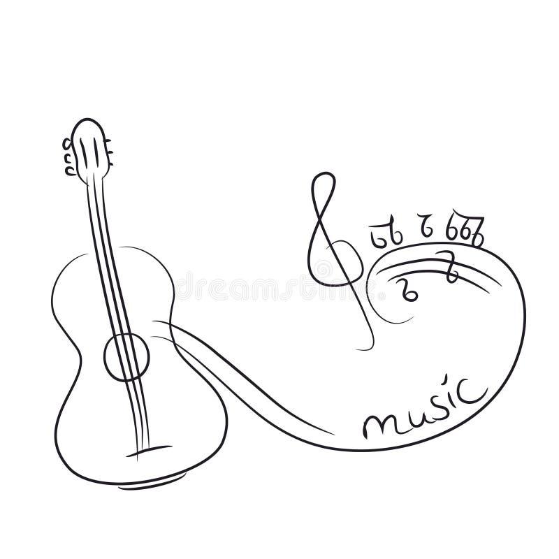 Esboço de uma guitarra com notas ilustração royalty free