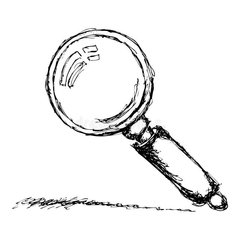 Esboço de uma lupa ilustração stock