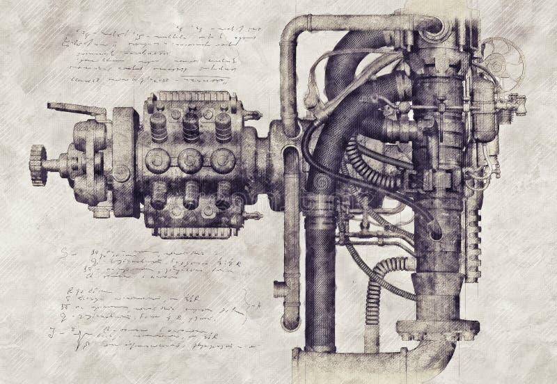 Esboço de uma máquina velha, ilustração 3D ilustração royalty free