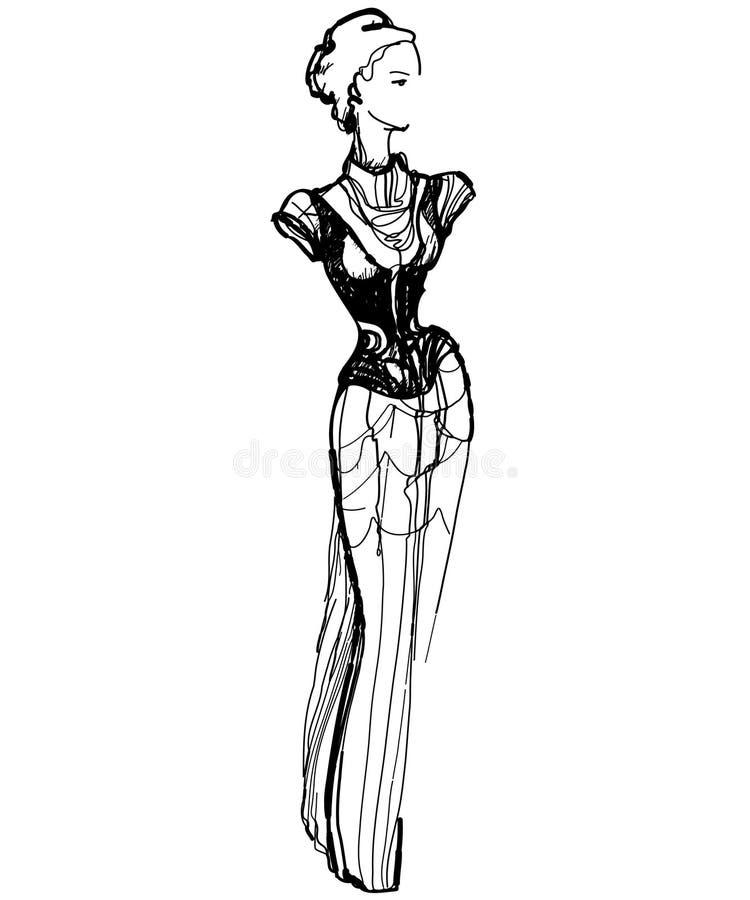 Esboço de uma menina delgada em um vestido longo ilustração stock
