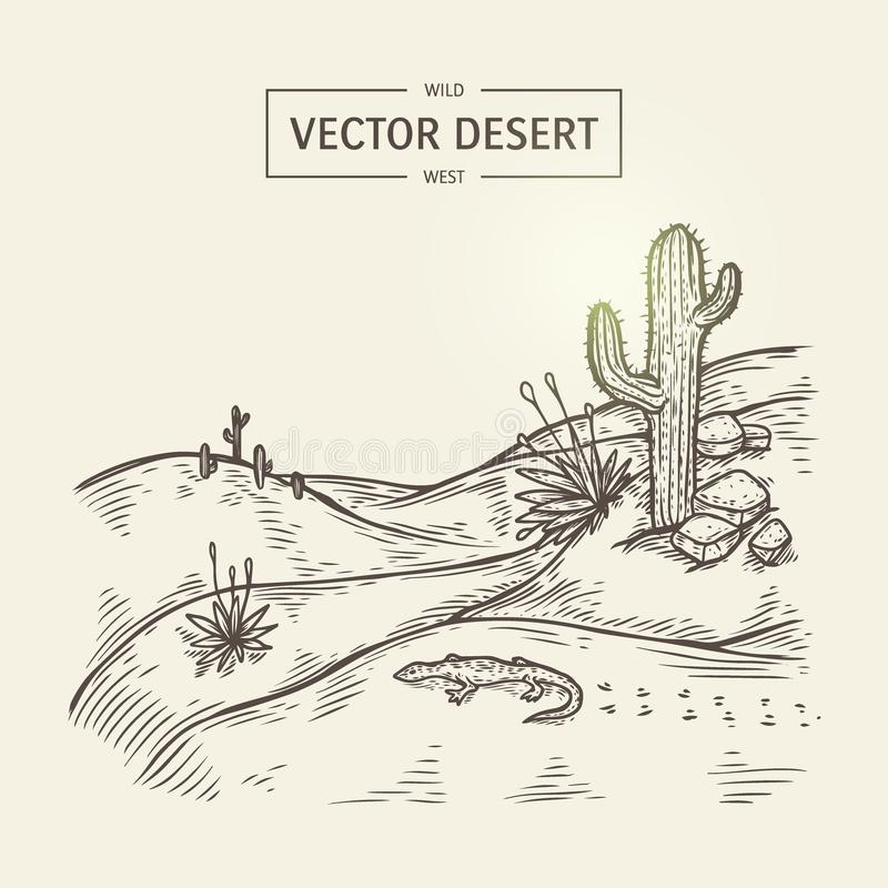 Esboço de uma paisagem da região selvagem Vector a silhueta do deserto com areia, cacto, pedras e lagarto ilustração royalty free