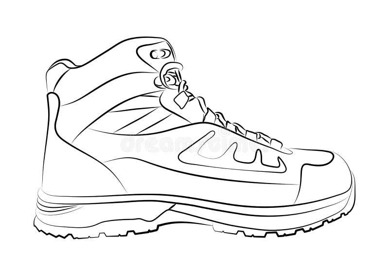 Esboço de uma sapata masculina no fundo branco Ilustração do vetor ilustração stock