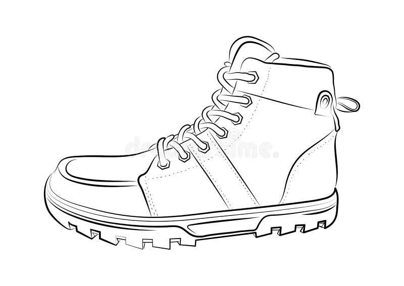 Esboço de uma sapata masculina no fundo branco Ilustração do vetor ilustração do vetor