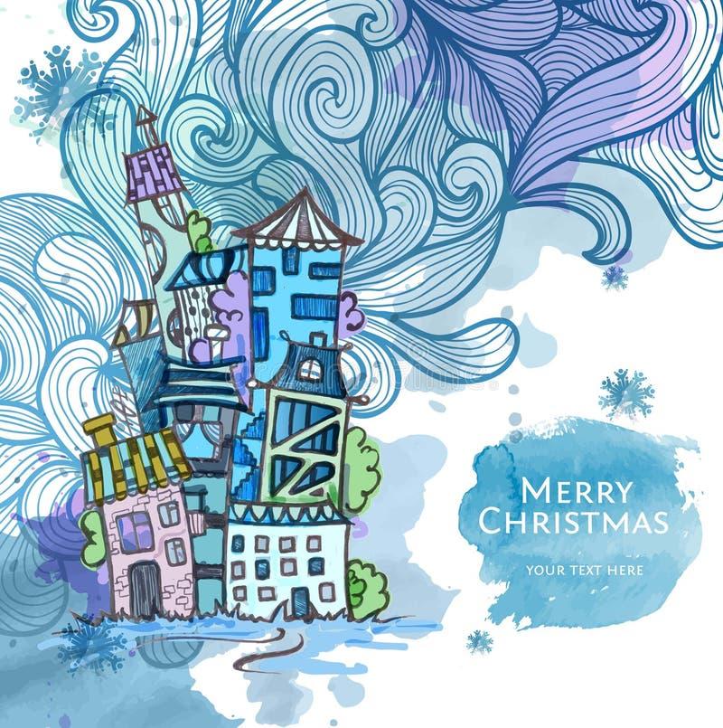 Esboço decorativo da cidade Fundo do Natal ilustração royalty free