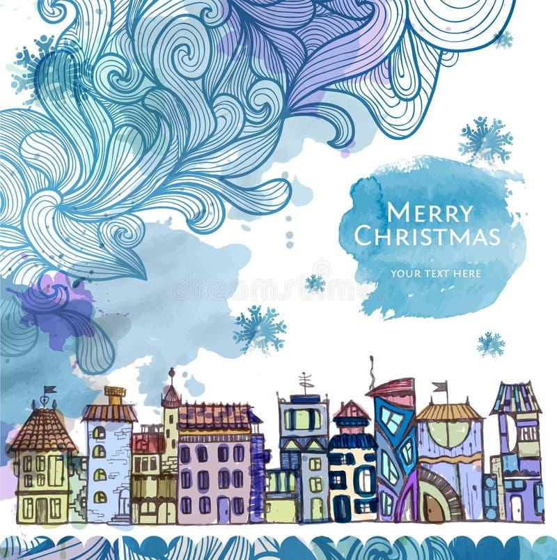 Esboço decorativo da cidade Fundo do Natal ilustração stock