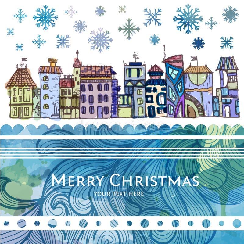 Esboço decorativo da cidade Fundo do Natal ilustração do vetor