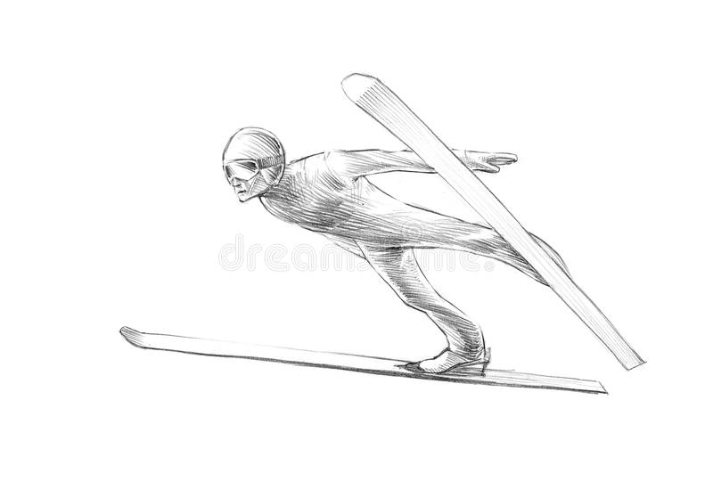Esboço desenhado à mão, ilustração do lápis de Ski Jumper Mid Air ilustração royalty free
