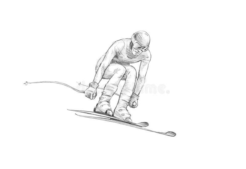 Esboço desenhado à mão, ilustração do lápis de um esquiador alpino Jumpin ilustração do vetor