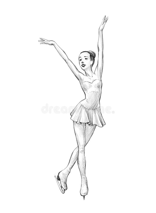 Esboço desenhado à mão, ilustração do lápis de uma mulher do patinador artística ilustração royalty free