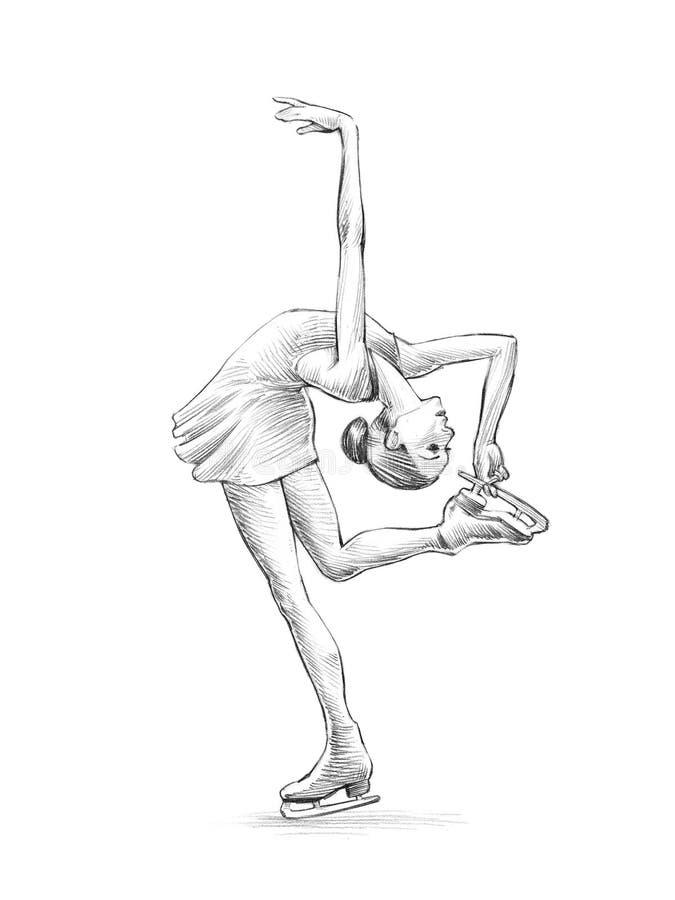 Esboço desenhado à mão, ilustração do lápis de uma mulher do patinador artística ilustração do vetor