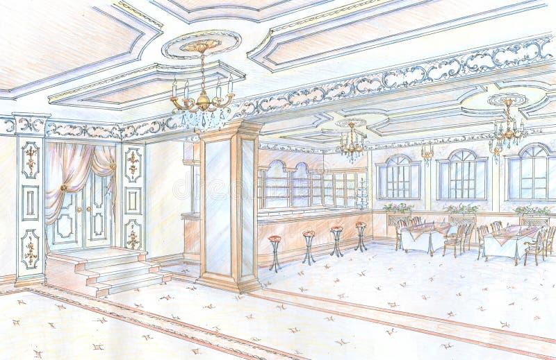 Esboço desenhado mão do restaurante ilustração do vetor