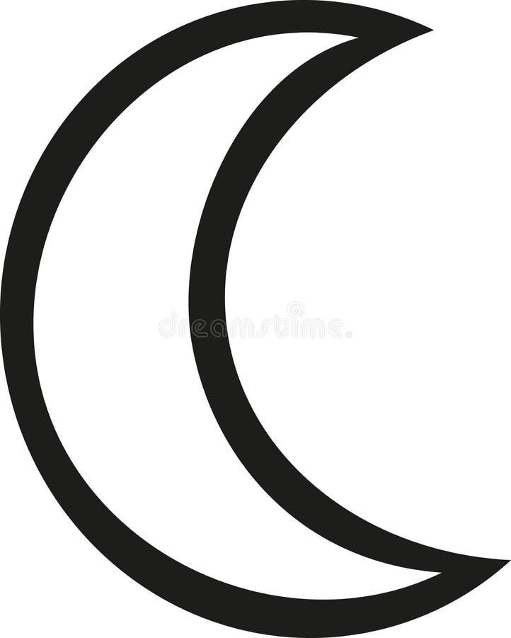 Esboço do ícone da lua ilustração do vetor