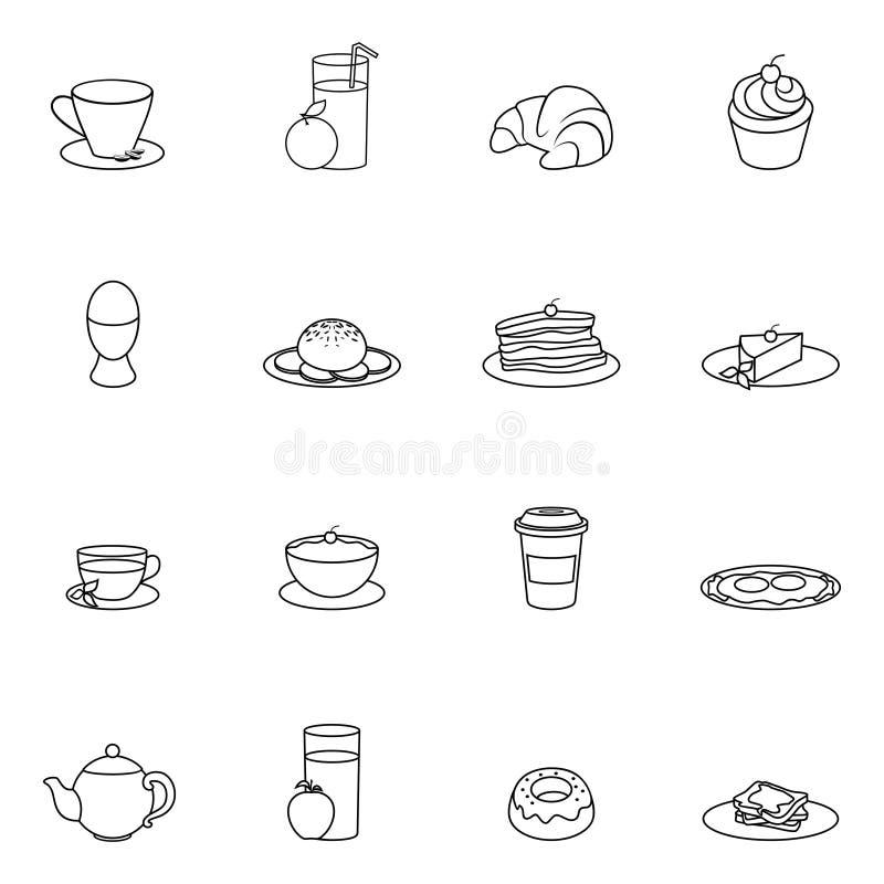 Esboço do ícone do café da manhã ilustração do vetor