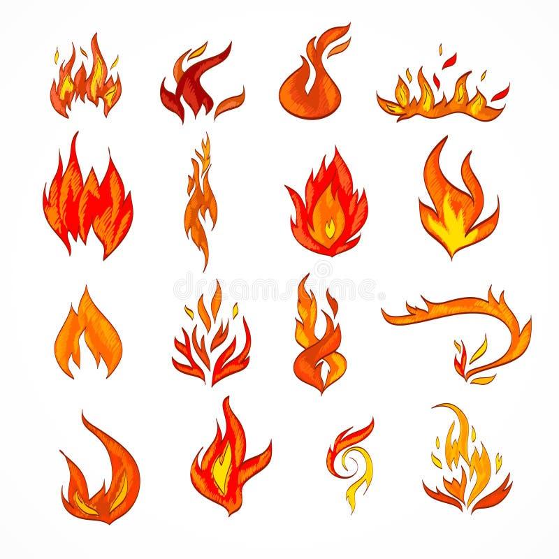 Esboço do ícone do fogo ilustração do vetor