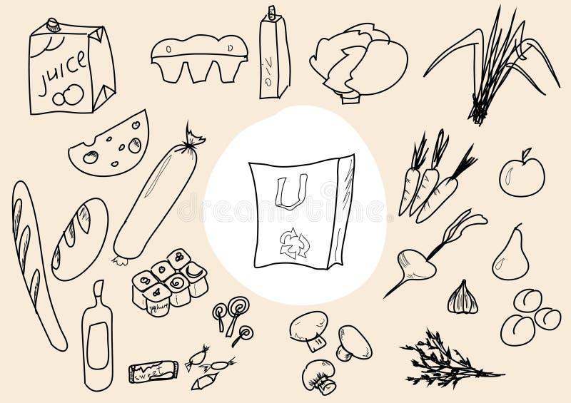 Esboço do alimento ilustração royalty free