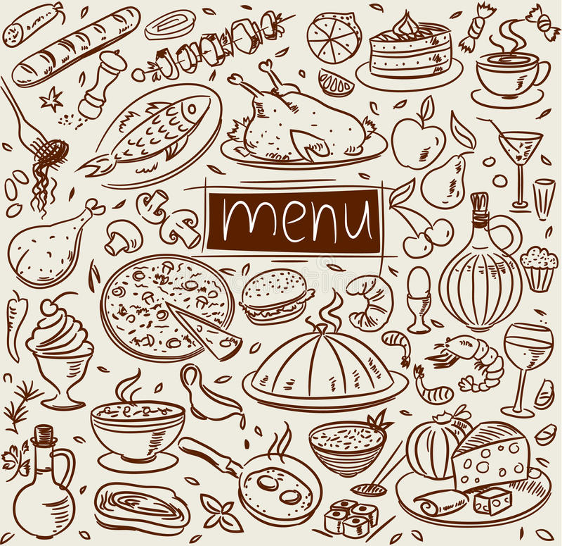 Esboço do alimento ilustração stock
