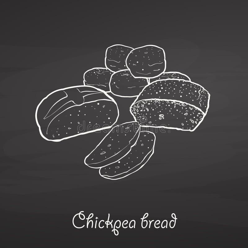 Esboço do alimento do pão do grão-de-bico no quadro ilustração do vetor