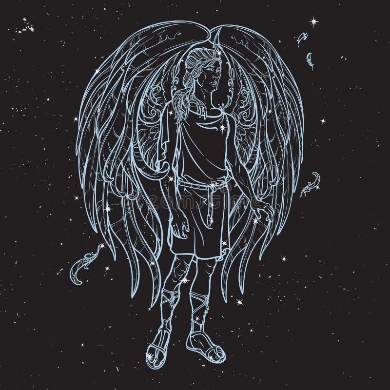 Esboço do anjo em um fundo preto do céu noturno ilustração stock