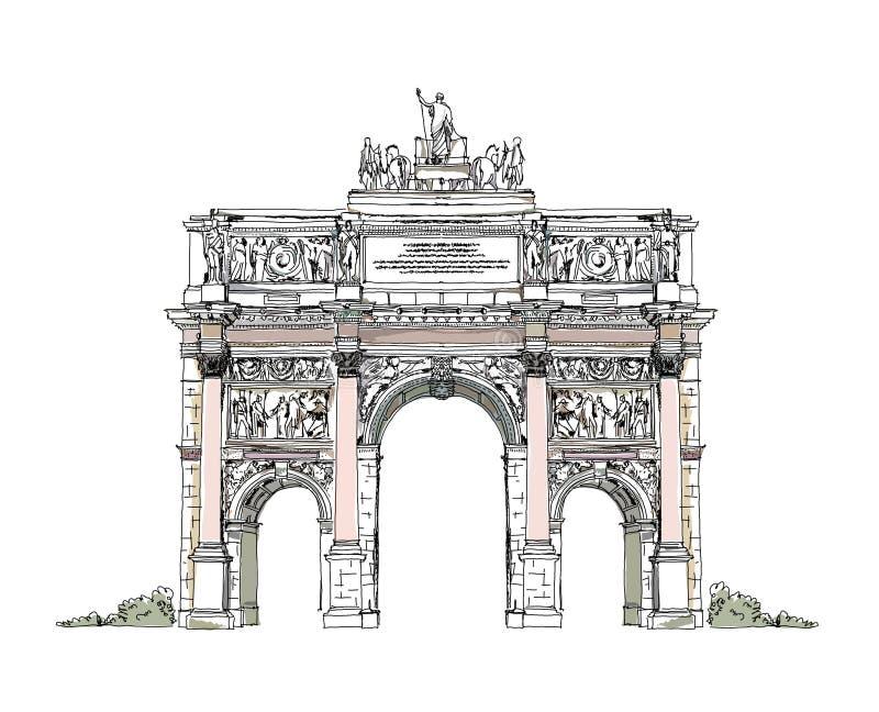 Esboço do arco de Triumph em Paris ilustração royalty free