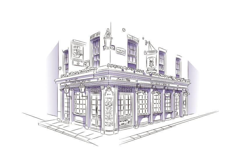 Esboço do bar de Londres ilustração royalty free