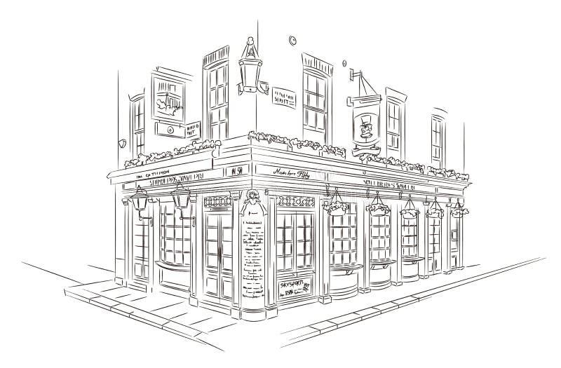Esboço do bar de Londres ilustração do vetor