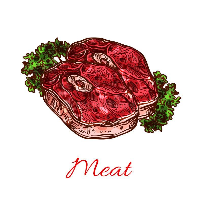 Esboço do bife da carne para o projeto do alimento ilustração stock