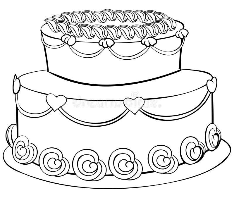 Esboço do bolo ilustração stock