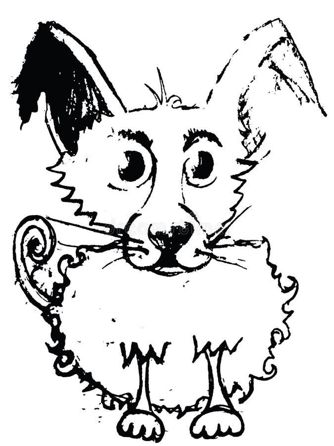 Esboço do cão adorável com revestimento encaracolado Trajeto de grampeamento salvar ilustração stock