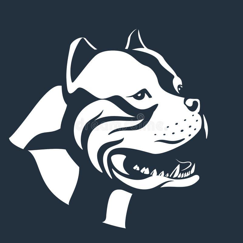 Esboço do cão de Pitbull no preto ilustração do vetor