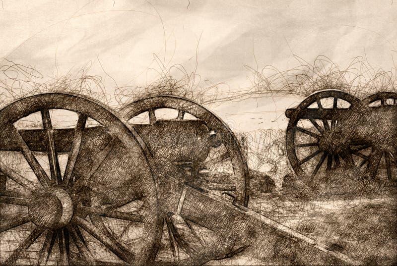 Esboço do canhão americano da guerra dois civil ilustração stock