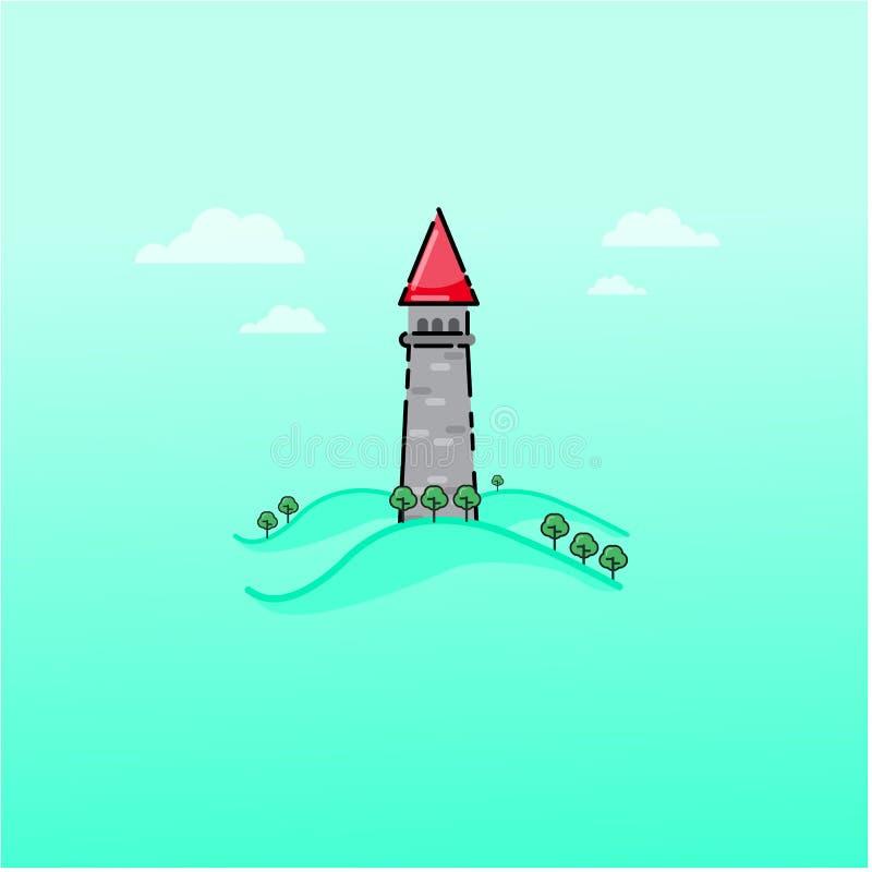 Esboço do castelo do conto de fadas dos desenhos animados ilustração stock