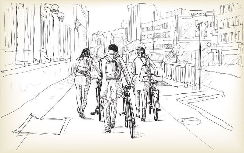 Esboço do cavaleiro da bicicleta em Berlim, ilustração da tração da carta branca ilustração royalty free