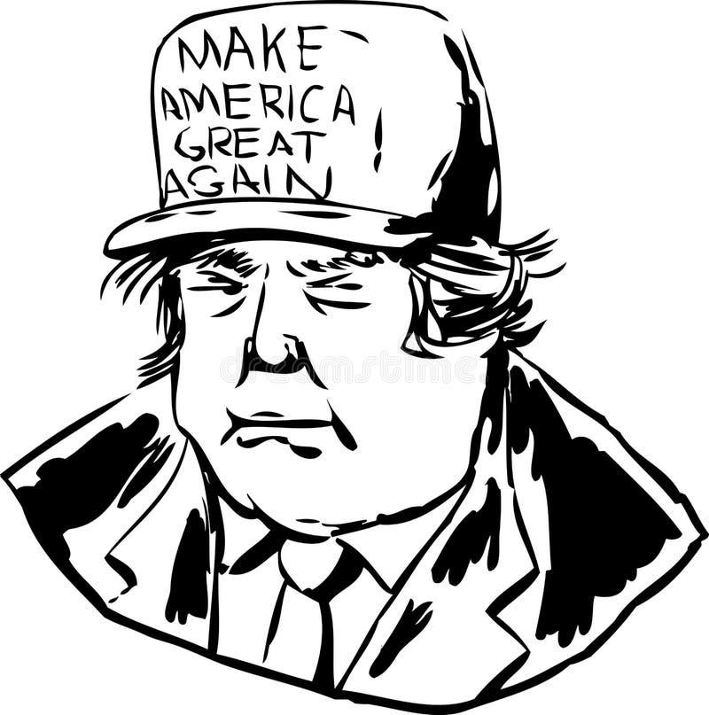 Esboço do chapéu branco vestindo do trunfo MAGA ilustração royalty free