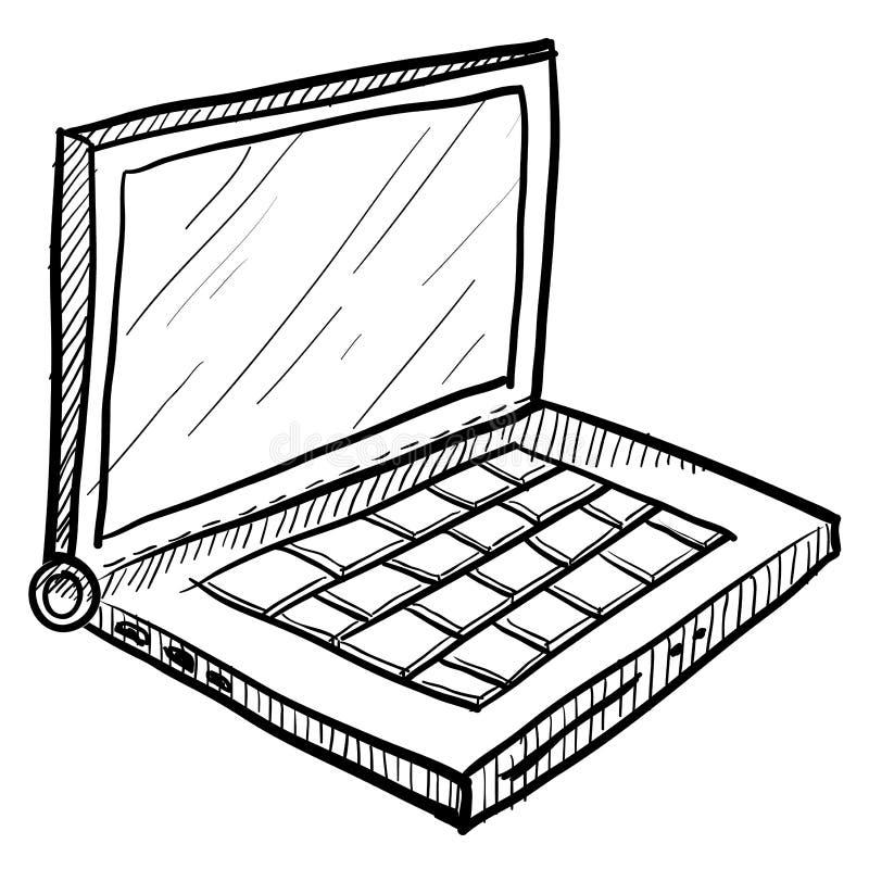 Esboço do computador portátil ilustração royalty free