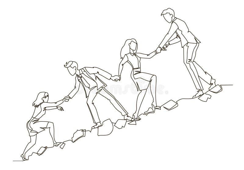 Esboço do conceito dos trabalhos de equipa Executivos que escalam junto na linha contínua arte da montanha Parceria, motivação ilustração royalty free