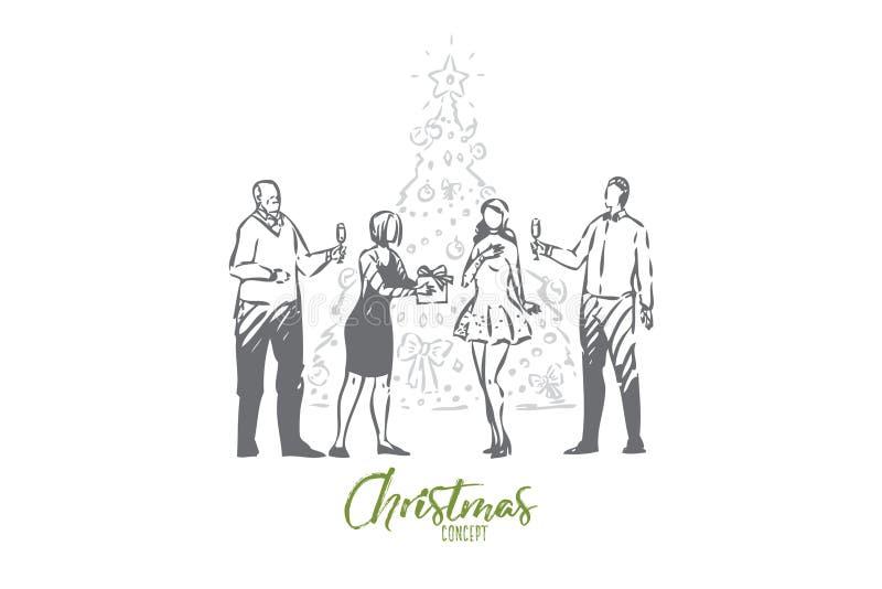 Esboço do conceito do Natal Ilustra??o isolada do vetor ilustração royalty free