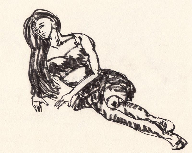 Esboço do corpo da menina ilustração royalty free