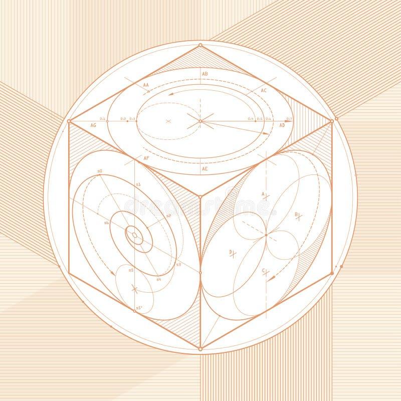 Esboço do cubo ilustração do vetor