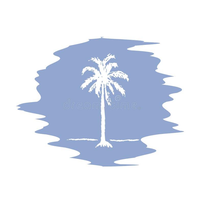 Esboço do desenho da mão do logotype da palmeira Palmeira do vetor ilustração royalty free
