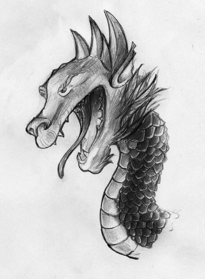 Esboço do dragão do estilo chinês ilustração do vetor