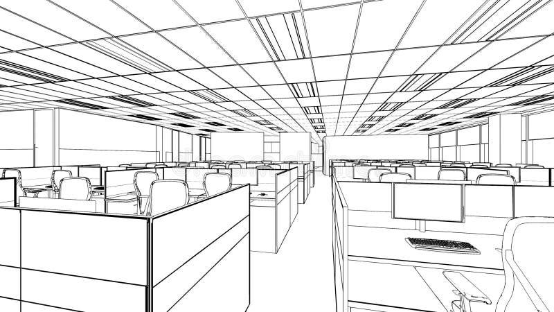 Esboço do esboço de uma área interior do escritório ilustração stock