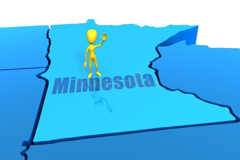 Esboço do estado de Minnesota com figura amarela da vara ilustração royalty free